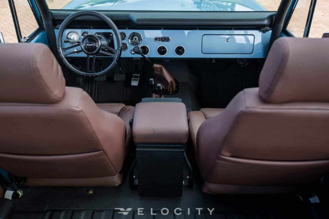 1974 Brittany Blue Classic Ford Bronco interior from rear