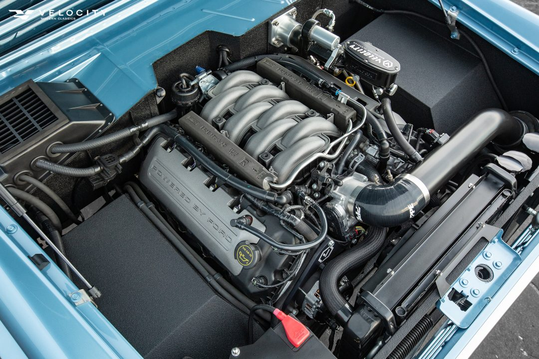 Classic Ford Bronco under the hood with Coyote engine