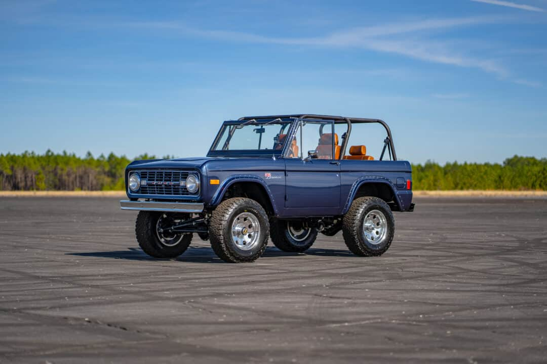 1977 blue ford bronco chrome bumpers