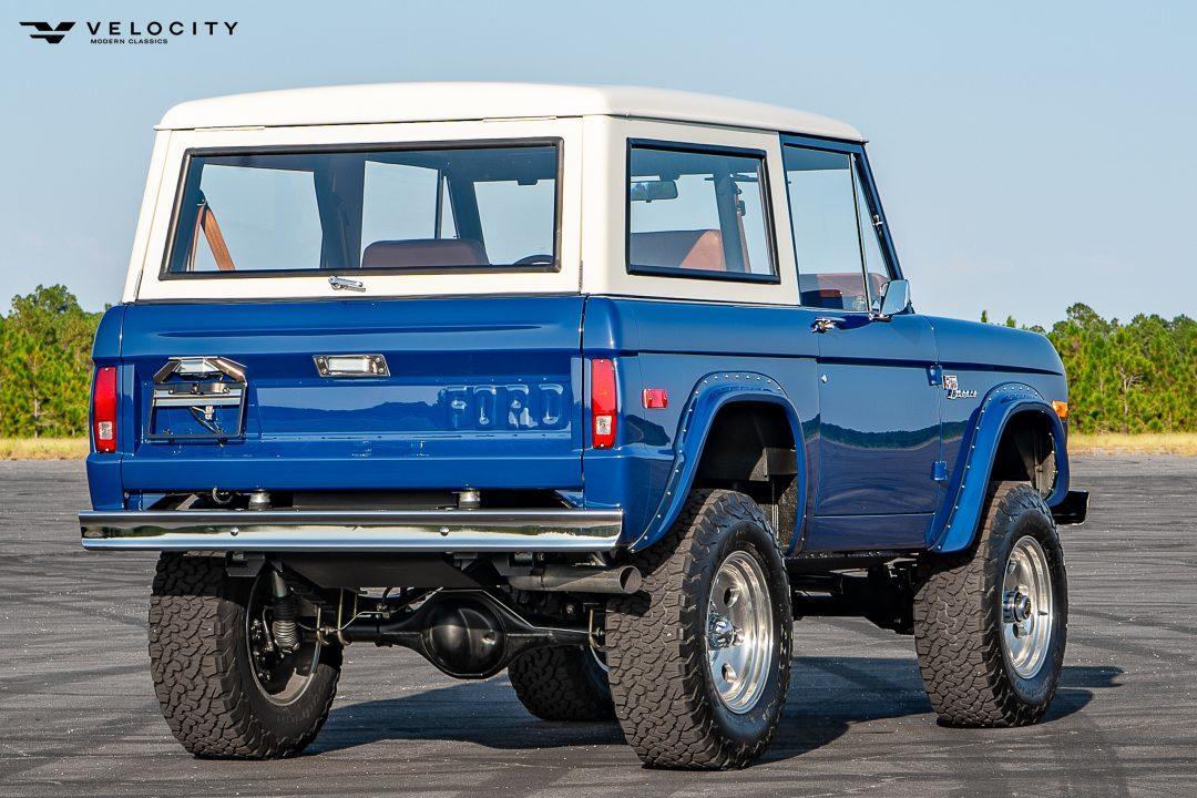 Vintage Ford Bronco passenger side rear 3/4 view