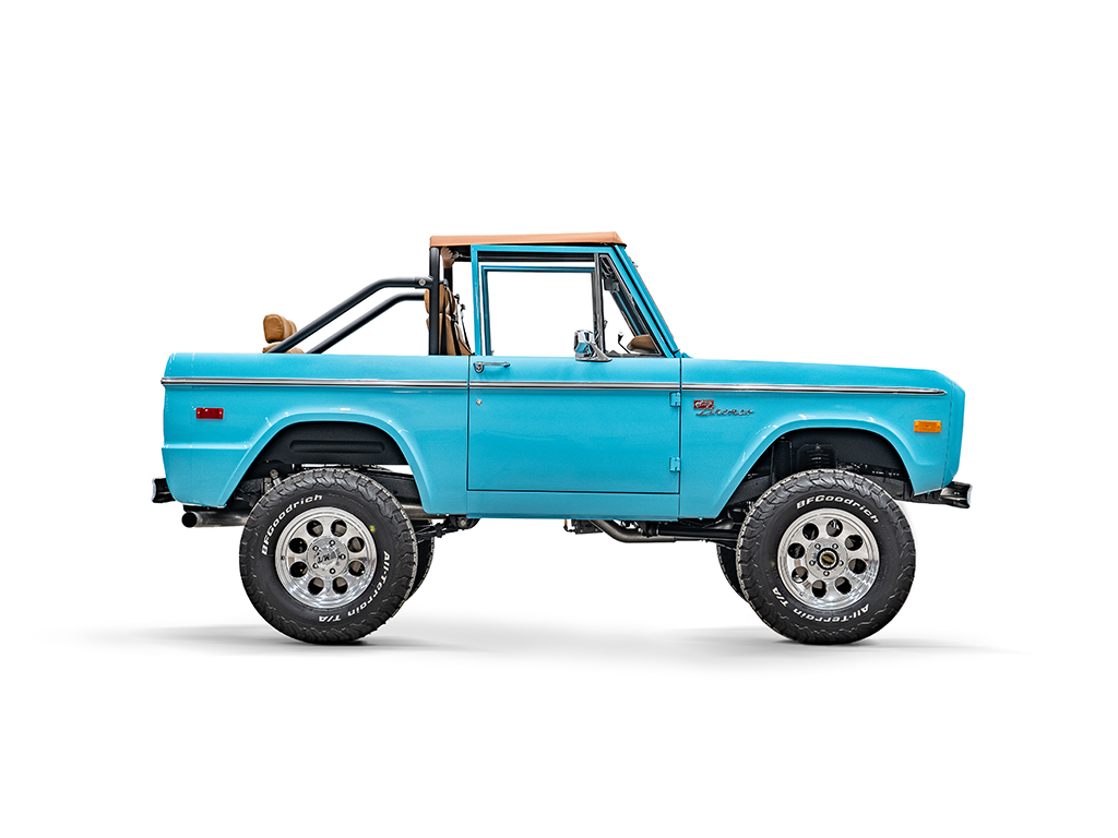 Ford Bronco passenger side view of wheels and tires